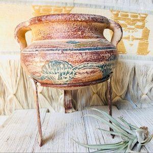 Vintage Stoneware Seashell Plant Pot